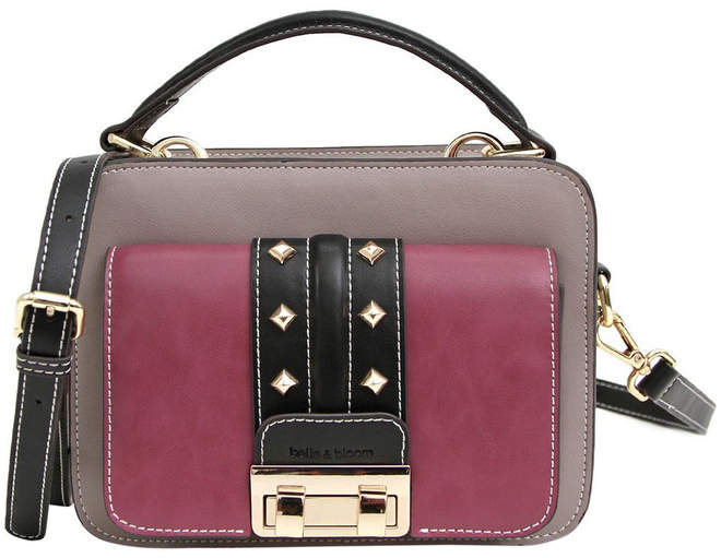 Belle & Bloom Frenchie Lover Leather Cross Body Bag Grey/Purple
