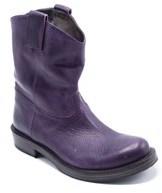 Brunello Cucinelli Purple Leather Pullon Ankle Boots.