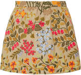 RED Valentino Embroidered Cotton-twill Shorts - Yellow