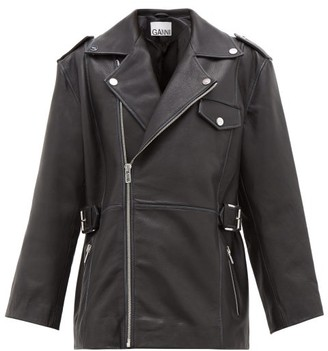 Ganni Oversized Leather Biker Jacket - Womens - Black