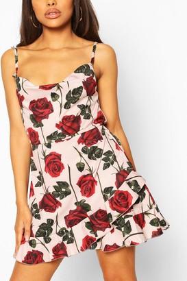 boohoo Petite Rose Print Cowl Neck Frill Satin Mini Dress