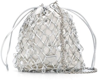 Prada Leather Mesh And Satin Clutch