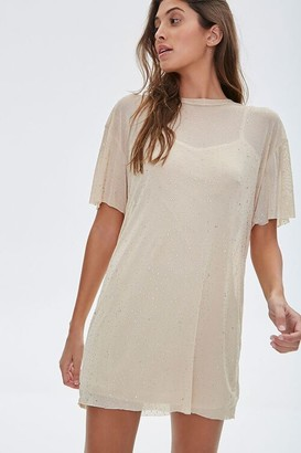 Forever 21 Metallic Pin Dot T-Shirt Dress