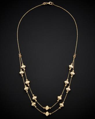 Italian Gold 14K Diamond Shape Bead Layer Necklace