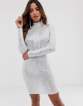 Flounce London statement shoulder mini dress in white metallic