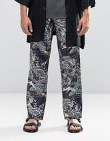Asos Slim Silky Trousers With Bird Print