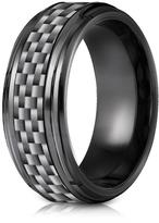 Ice Black Titanium 7mm Comfort-Fit Beveled Edge Pattern Design Ring