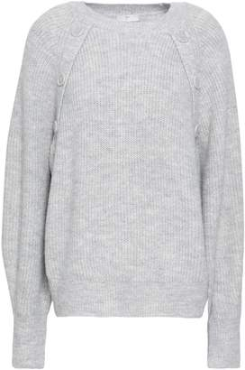 Joie Button-detailed Melange Knitted Sweater