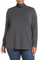 Sejour Plus Size Women's Stretch Modal Turtleneck