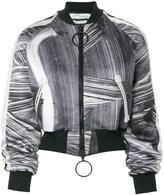 Off-White brushed bomber jacket - women - Polyester/Spandex/Elastane - 38