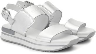 Hogan H257 metallic leather sandals