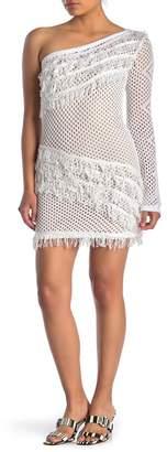 Dee Elly One Shoulder Long Sleeve Fishnet Sweater Dress