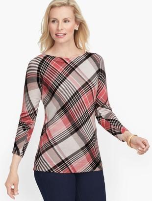 Talbots Merino Bateau Neck Plaid Sweater