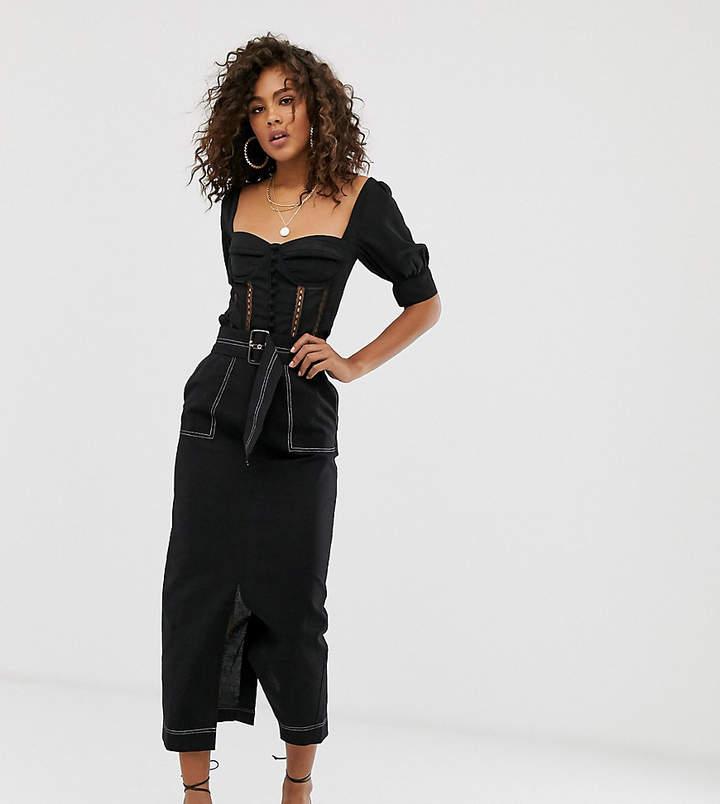Asos Tall DESIGN Tall column midi skirt with utility pockets and tie waist