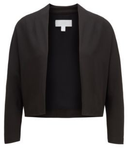 HUGO BOSS Open Front Cropped Jacket In Italian Satin Back Crepe - Black
