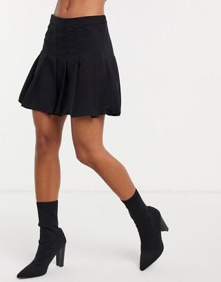 Weekday pleated mini skirt in black