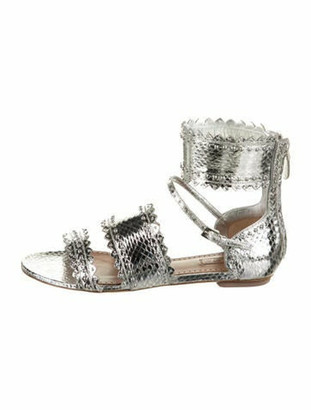 Alaia Leather Ankle Strap Sandals w/ Tags Silver
