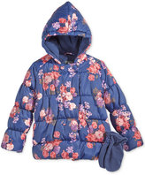 S. Rothschild 2-Pc. Floral-Print Puffer Jacket & Mittens Set, Toddler Girls (2-6X) & Little Girls (2-7)