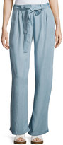 On the Road June Chambray Tie-Waist Pants, Blue