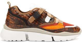 Chloé Sonnie Raised-sole Lizard-effect Leather Trainers - Womens - Brown Multi