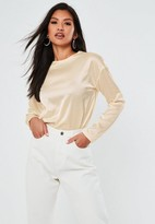 Missguided Nude Satin Long Sleeve Tunic Top