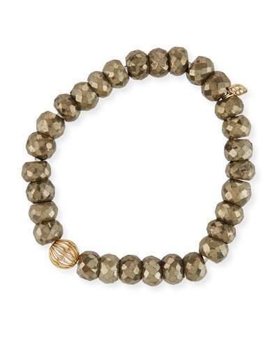 Sydney Evan 8mm Pyrite Beaded Bracelet w/ 14k Diamond Ball Charm