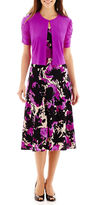 JCPenney Danny & Nicole Short-Sleeve Floral Print Textured Knit Jacket Dress
