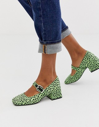 ASOS DESIGN Space square toe mary jane mid heels in lime spot