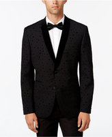 Bar III Men's Slim-Fit Black Flocked-Dot Evening Jacket, Only at Macy's