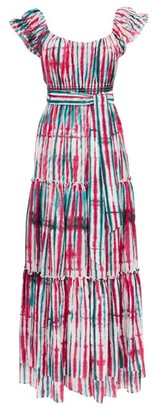 Diane von Furstenberg Lexie Tie-dye Tiered Cotton-blend Dress - Womens - Pink Multi
