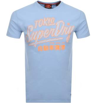 Superdry Vintage Ticket Type Logo T Shirt Blue