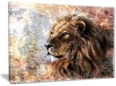 "Design Art Usa ""Peaceful Lion"" Animal Canvas Art Print, 40""x30"""