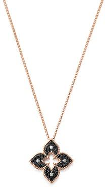 Roberto Coin 18K Rose Gold Petite Venetian Black & White Diamond Pendant Necklace, 18