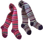 Country Kids Big Girls' Jelly Bean Bright Stripe Tights, Pack of 2, Fits