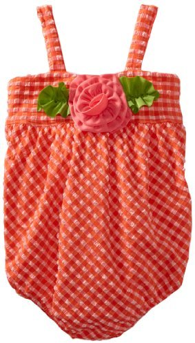Love U Lots Baby-Girls Infant 1 Piece Bubble Swimsuit Coral Minicheck Seersucker