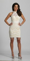 Dave and Johnny High Collar Sheer Lace Homecoming Dress