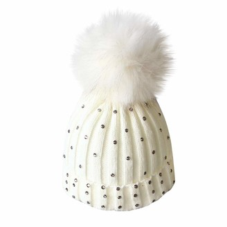 ClodeEU Lovely Baby Diamond Knitting Wool Hemming Hat Keep Warm Winter Hiarball Fur Ball Cap White
