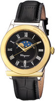 Salvatore Ferragamo 40mm 1898 Sport Men's Moon Phase Two-Tone Watch w/ Leather Strap, Black