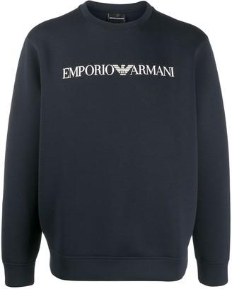 Emporio Armani Logo-Print Rib-Trimmed Sweatshirt