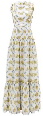 Erdem Ava Tiered Floral Fil Coupe Gown - Yellow White