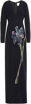 Carolina Herrera Embellished Floral-print Crepe Gown