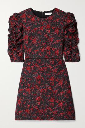 See by Chloe Ruched Floral-print Crepe Mini Dress - Black