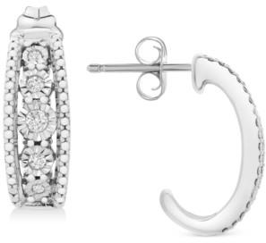 Macy's Diamond Open-Work Drop Earrings (1/10 ct. t.w.) in Sterling Silver
