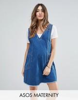 Asos Denim Chuck On Mini Dress In Vintage Blue Wash
