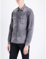 The Kooples Distressed slim-fit denim shirt