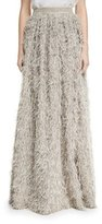 Brunello Cucinelli Summer Faux-Fur Maxi Skirt, Gray