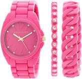 Anne Klein Women's AK/1956PKST Swarovski Crystal Accented Silicone Bracelet Watch Set