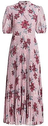 ML Monique Lhuillier High-Neck Floral Midi Dress