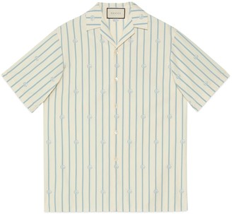 Gucci Check GG silk crepe bowling shirt