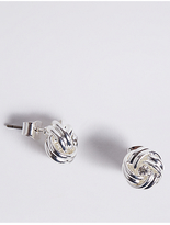 M&S Collection Silver Plated Diamanté Knot Stud Earrings